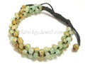 96 Light Green Yellow Burma Jade Beads Knotted String Bracelet