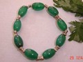 Stretch Delicate 9 Big Barrel Green Jade Beads Bracelet